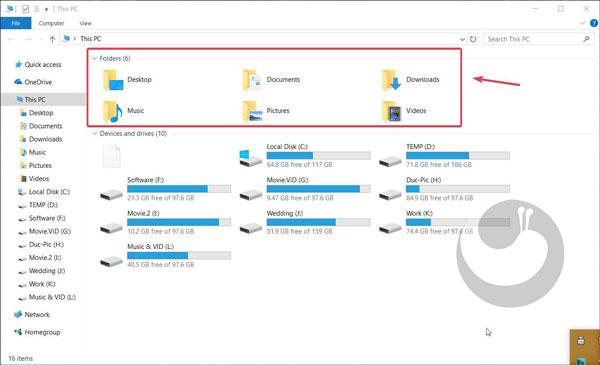 حذف فولدرهای اضافی This PC در ویندوز 10